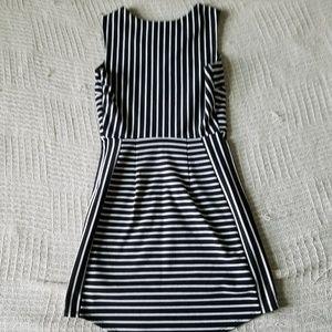 Silence + Noise Black/White Striped Bodycon Dress